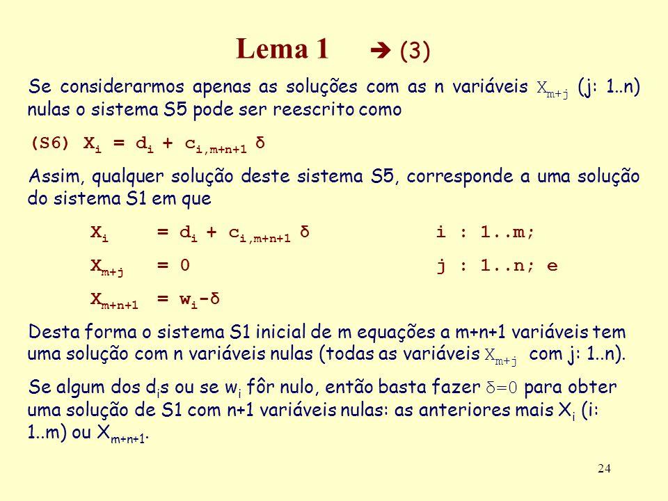 24 Lema 1 (3) Se considerarmos apenas as soluções com as n variáveis X m+j (j: 1..n) nulas o sistema S5 pode ser reescrito como (S6) X i = d i + c i,m
