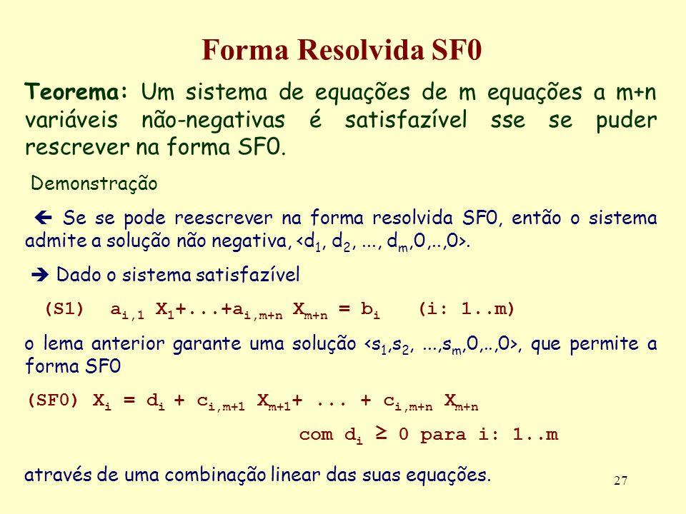 27 Forma Resolvida SF0 Teorema: Um sistema de equações de m equações a m+n variáveis não-negativas é satisfazível sse se puder rescrever na forma SF0.