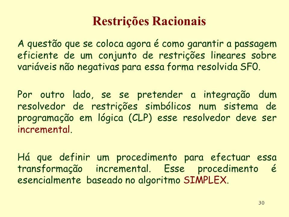 30 Restrições Racionais A questão que se coloca agora é como garantir a passagem eficiente de um conjunto de restrições lineares sobre variáveis não n