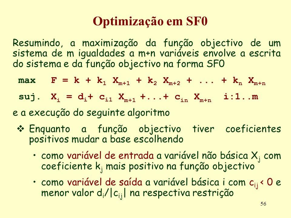 56 Resumindo, a maximização da função objectivo de um sistema de m igualdades a m+n variáveis envolve a escrita do sistema e da função objectivo na fo