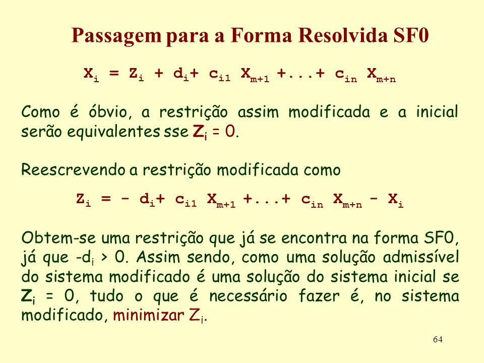 64 X i = Z i + d i + c i1 X m+1 +...+ c in X m+n Como é óbvio, a restrição assim modificada e a inicial serão equivalentes sse Z i = 0. Reescrevendo a