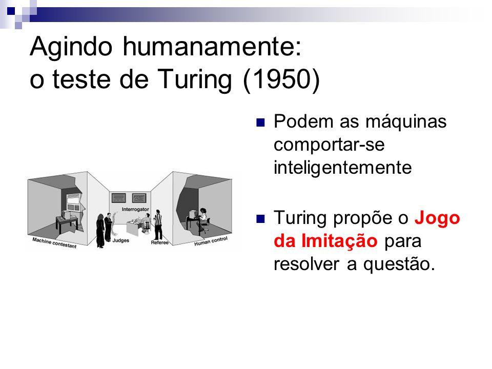 Agindo humanamente: o teste de Turing (1950) Podem as máquinas comportar-se inteligentemente Turing propõe o Jogo da Imitação para resolver a questão.