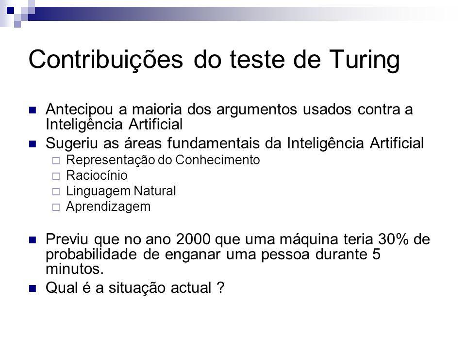 Contribuições do teste de Turing Antecipou a maioria dos argumentos usados contra a Inteligência Artificial Sugeriu as áreas fundamentais da Inteligên