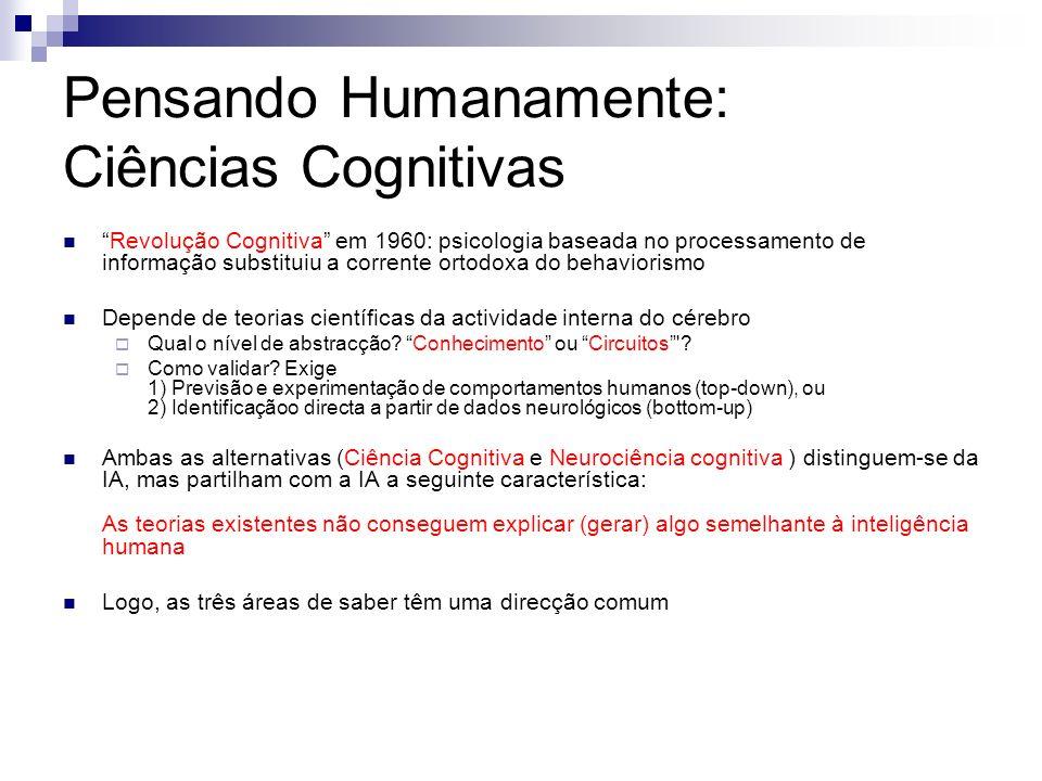 Pensando Humanamente: Ciências Cognitivas Revolução Cognitiva em 1960: psicologia baseada no processamento de informação substituiu a corrente ortodox
