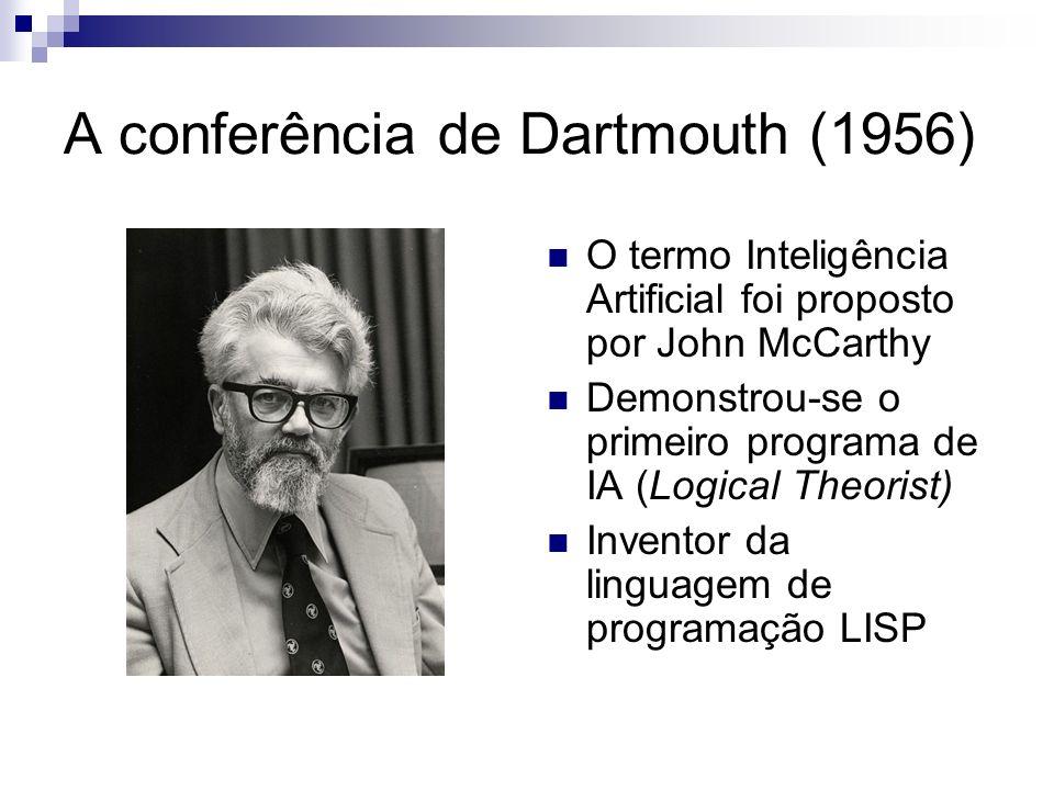 A conferência de Dartmouth (1956) O termo Inteligência Artificial foi proposto por John McCarthy Demonstrou-se o primeiro programa de IA (Logical Theo