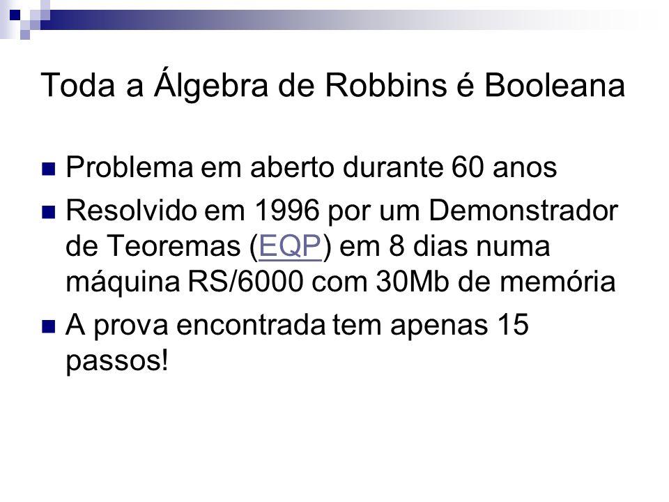 Toda a Álgebra de Robbins é Booleana Problema em aberto durante 60 anos Resolvido em 1996 por um Demonstrador de Teoremas (EQP) em 8 dias numa máquina
