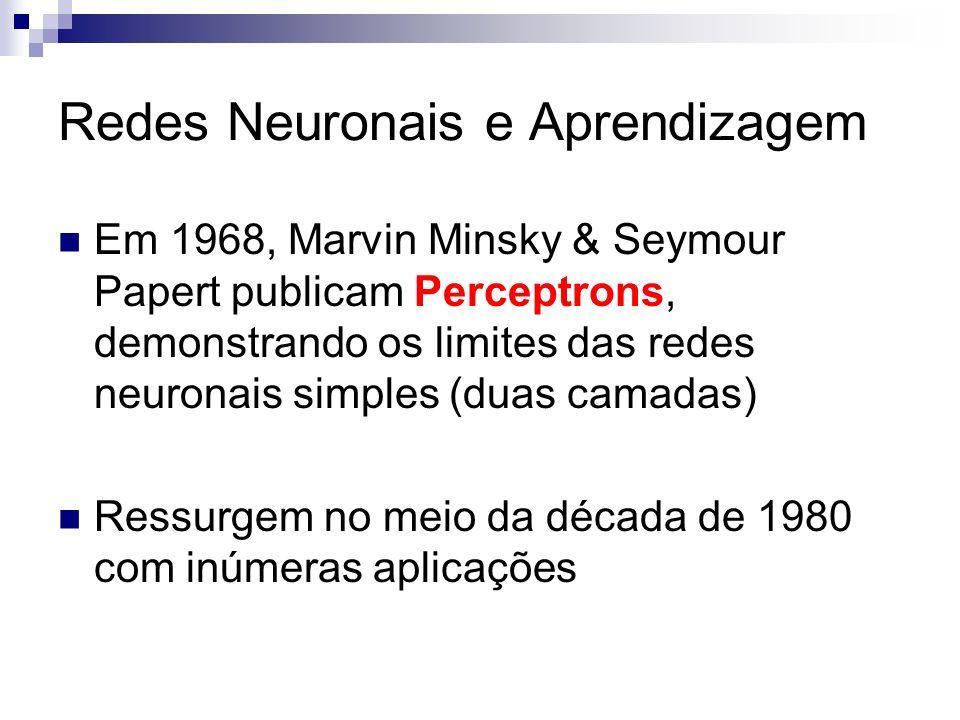 Redes Neuronais e Aprendizagem Em 1968, Marvin Minsky & Seymour Papert publicam Perceptrons, demonstrando os limites das redes neuronais simples (duas