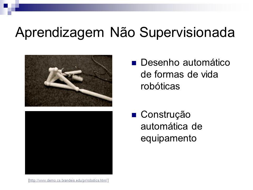 Aprendizagem Não Supervisionada Desenho automático de formas de vida robóticas Construção automática de equipamento [http://www.demo.cs.brandeis.edu/p