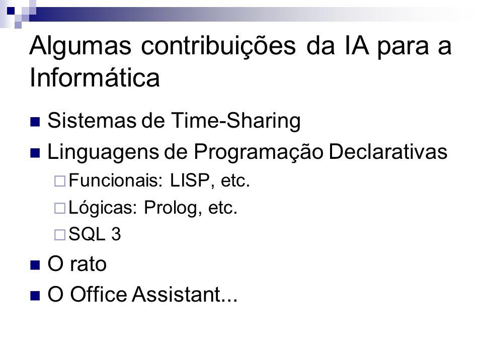 Algumas contribuições da IA para a Informática Sistemas de Time-Sharing Linguagens de Programação Declarativas Funcionais: LISP, etc. Lógicas: Prolog,