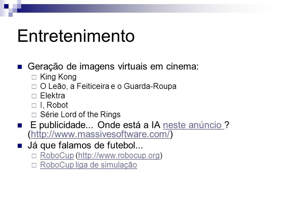 Entretenimento Geração de imagens virtuais em cinema: King Kong O Leão, a Feiticeira e o Guarda-Roupa Elektra I, Robot Série Lord of the Rings E publi