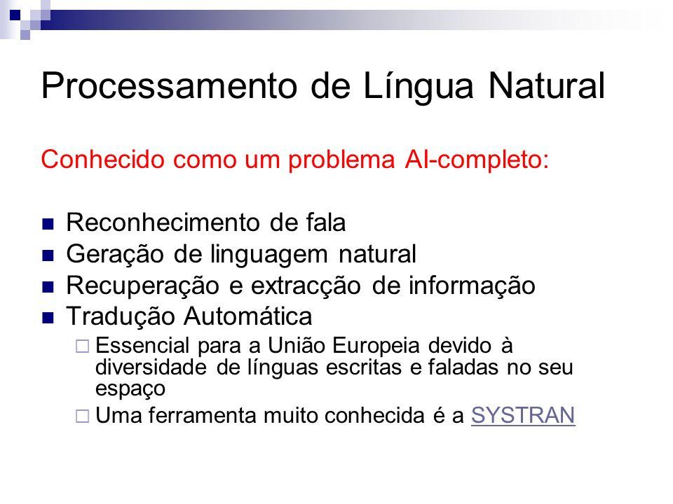 Processamento de Língua Natural Conhecido como um problema AI-completo: Reconhecimento de fala Geração de linguagem natural Recuperação e extracção de