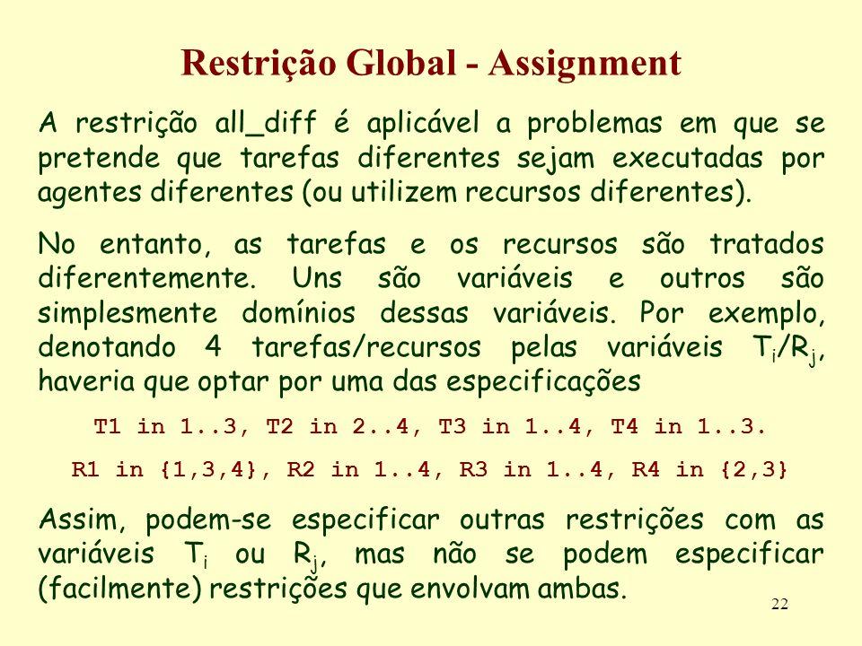 22 Restrição Global - Assignment A restrição all_diff é aplicável a problemas em que se pretende que tarefas diferentes sejam executadas por agentes d