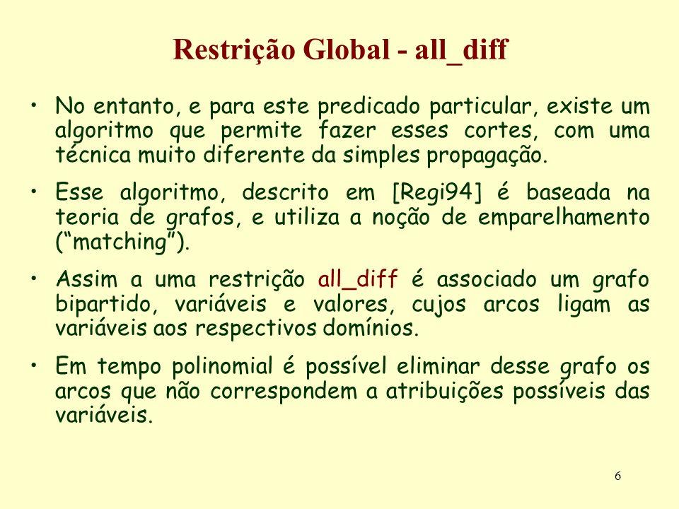 6 Restrição Global - all_diff No entanto, e para este predicado particular, existe um algoritmo que permite fazer esses cortes, com uma técnica muito