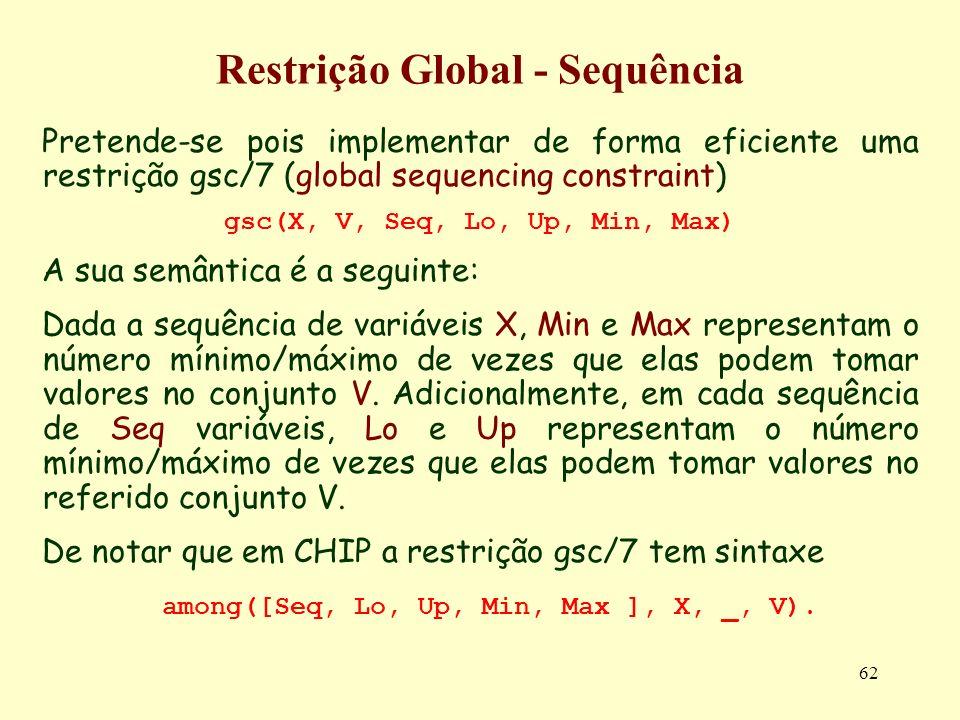 62 Restrição Global - Sequência Pretende-se pois implementar de forma eficiente uma restrição gsc/7 (global sequencing constraint) gsc(X, V, Seq, Lo,