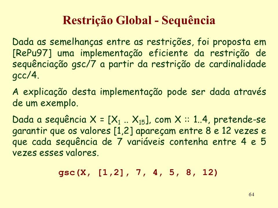 64 Restrição Global - Sequência Dada as semelhanças entre as restrições, foi proposta em [RePu97] uma implementação eficiente da restrição de sequênci
