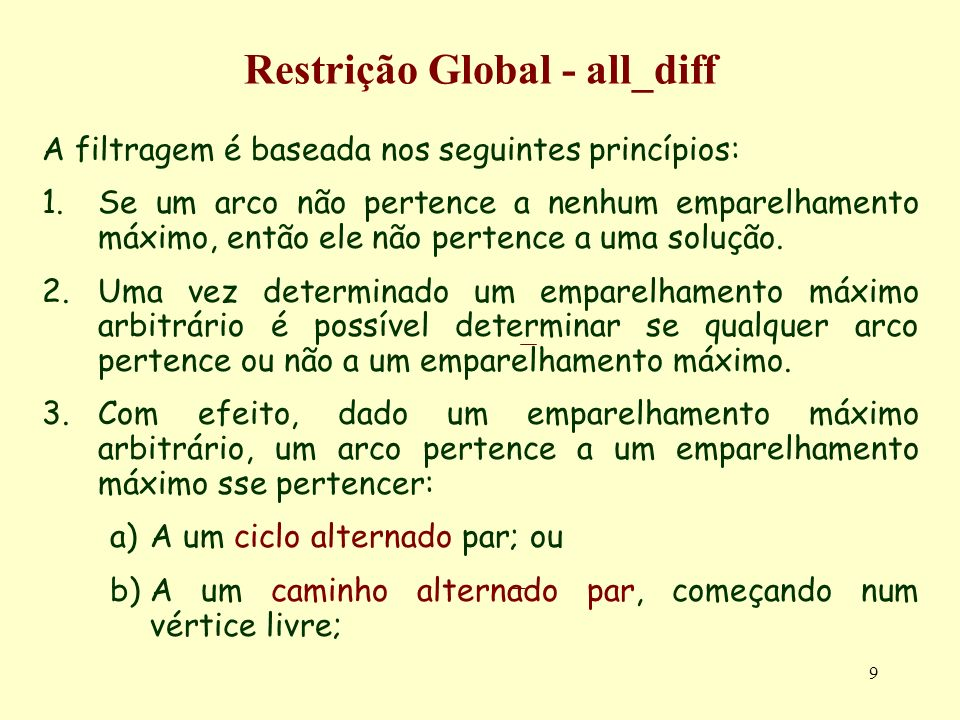 20 Restrição Global - all_diff Exemplo ( programa all_different.txt):all_different.txt adn([A,B,C,D,E,F,G,H,I,J]):- A in 0..9, B in 0..8, C in 0..7, D in 0..6, E in 0..5, F in 0..4, G in 0..3, H in 0..2, I in 0..1, J in 0..1, statistics(runtime,[_,_]), all_different([A,B,C,D,E,F,G,H,I,J]), labeling([],[A,B,C,D,E,F,G,H,I,J]), statistics(runtime,[_,T]), nl,write( T -T), nl, fd_statistics.