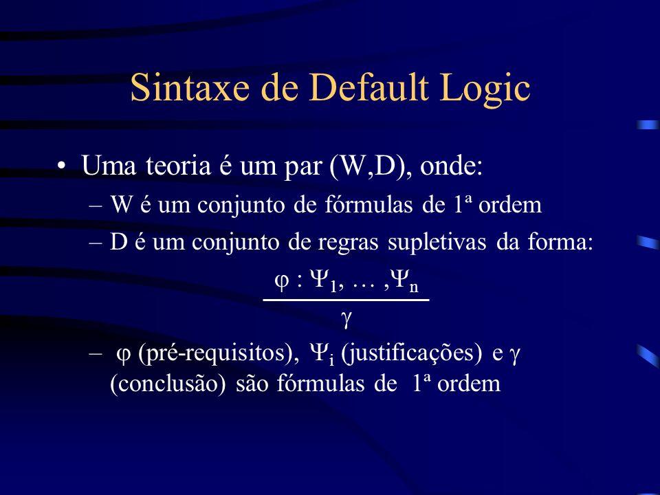Sintaxe de Default Logic Uma teoria é um par (W,D), onde: –W é um conjunto de fórmulas de 1ª ordem –D é um conjunto de regras supletivas da forma: : 1