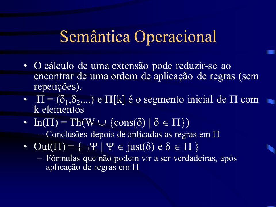 Semântica Operacional O cálculo de uma extensão pode reduzir-se ao encontrar de uma ordem de aplicação de regras (sem repetições). = ( 1, 2,...) e [k]
