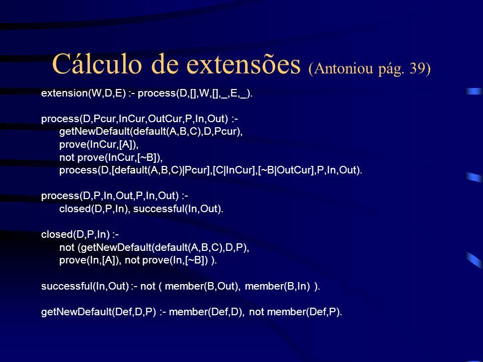 Cálculo de extensões (Antoniou pág. 39) extension(W,D,E) :- process(D,[],W,[],_,E,_). process(D,Pcur,InCur,OutCur,P,In,Out) :- getNewDefault(default(A