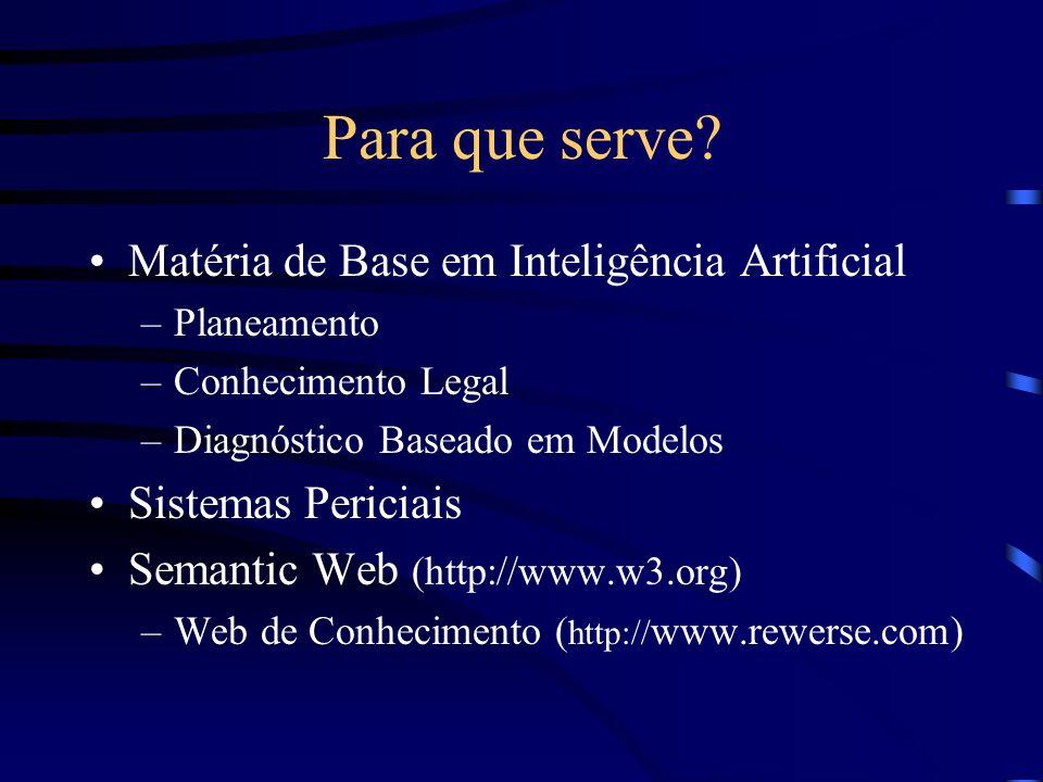 Para que serve? Matéria de Base em Inteligência Artificial –Planeamento –Conhecimento Legal –Diagnóstico Baseado em Modelos Sistemas Periciais Semanti