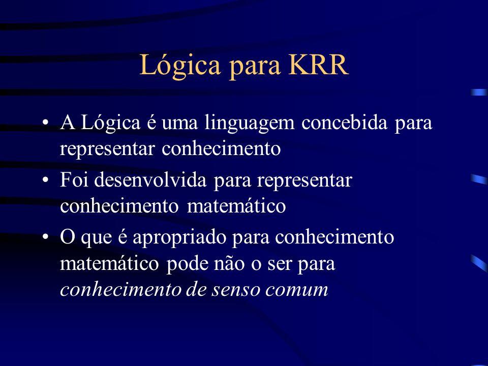 Lógica para KRR A Lógica é uma linguagem concebida para representar conhecimento Foi desenvolvida para representar conhecimento matemático O que é apr