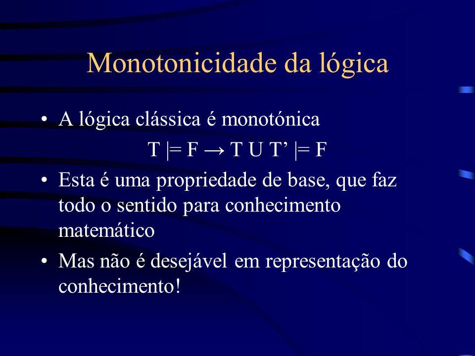 Monotonicidade da lógica A lógica clássica é monotónica T |= F T U T |= F Esta é uma propriedade de base, que faz todo o sentido para conhecimento mat