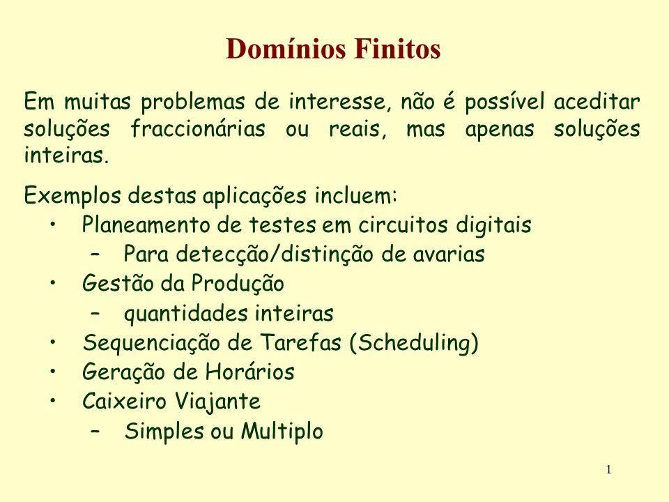 1 Domínios Finitos Em muitas problemas de interesse, não é possível aceditar soluções fraccionárias ou reais, mas apenas soluções inteiras. Exemplos d