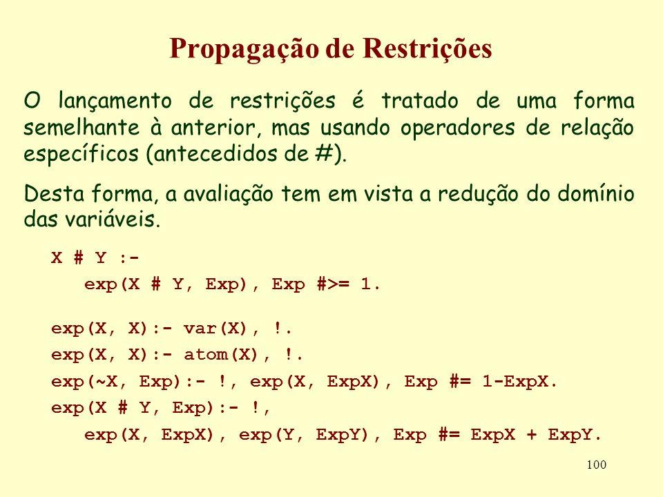 100 Propagação de Restrições O lançamento de restrições é tratado de uma forma semelhante à anterior, mas usando operadores de relação específicos (antecedidos de #).