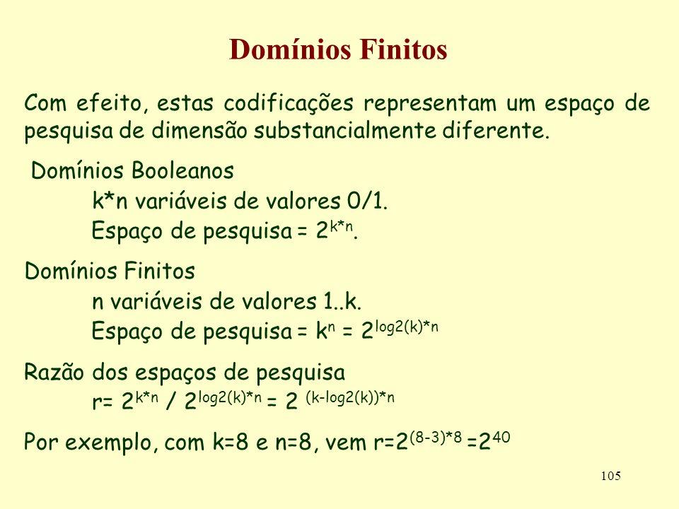 105 Domínios Finitos Com efeito, estas codificações representam um espaço de pesquisa de dimensão substancialmente diferente. Domínios Booleanos k*n v