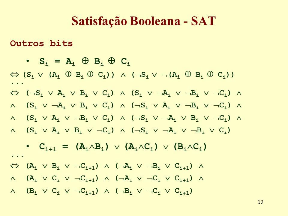 13 Satisfação Booleana - SAT Outros bits S i = A i B i C i (S i (A i B i C i )) ( S i (A i B i C i ))... ( S i A i B i C i ) (S i A i B i C i ) C i+1