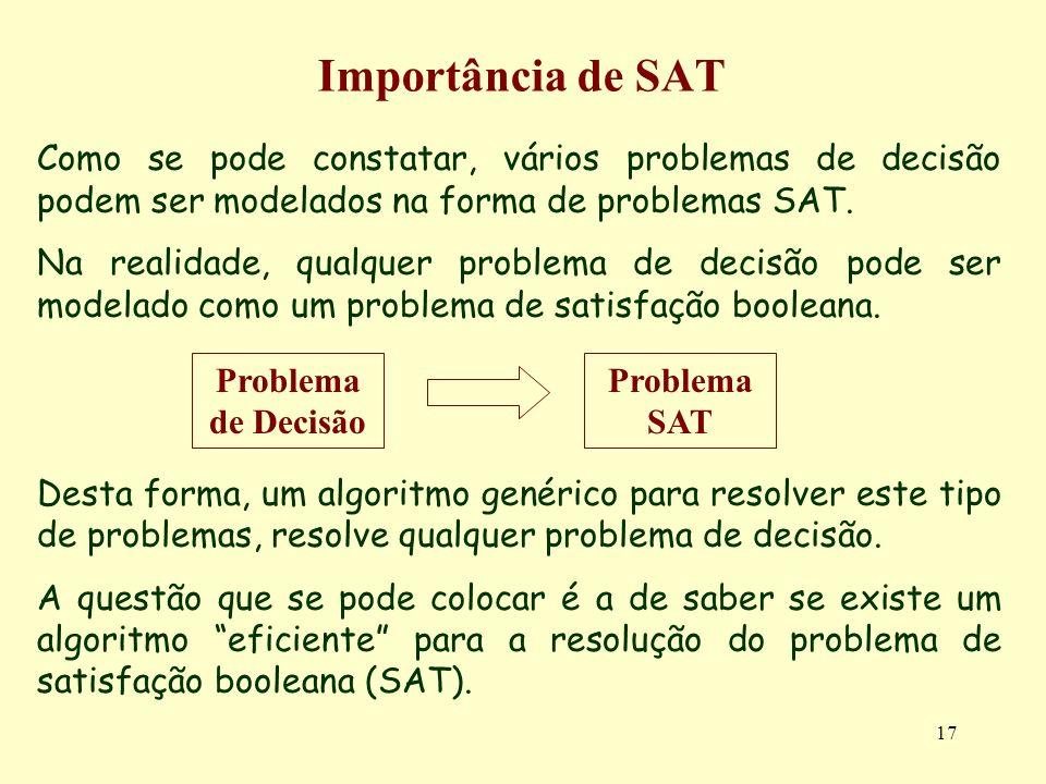 17 Importância de SAT Como se pode constatar, vários problemas de decisão podem ser modelados na forma de problemas SAT. Na realidade, qualquer proble