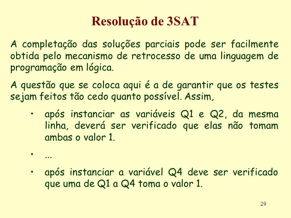 29 Resolução de 3SAT A completação das soluções parciais pode ser facilmente obtida pelo mecanismo de retrocesso de uma linguagem de programação em ló