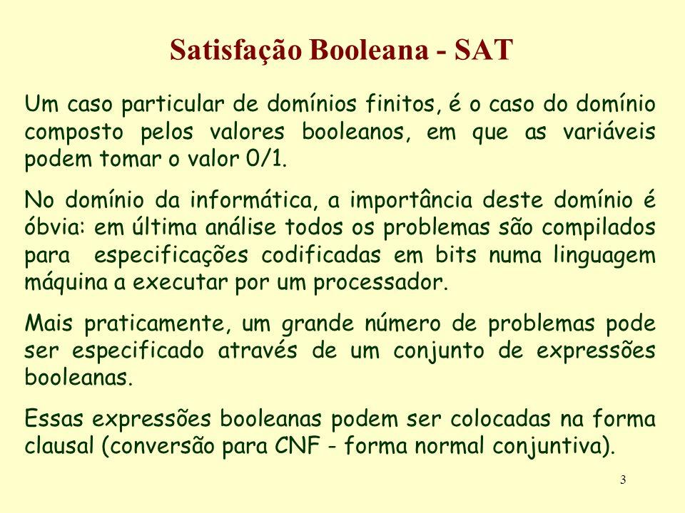 14 Satisfação Booleana - SAT Exemplo_3: Saco Mochila (Decisão) a comparação (=<) de dois inteiros Dados os inteiros A e B representados em binário pelos bits A k /B k a A 0 /B 0, a sua comparação (A =< B) pode ser feita através das variáveis booleanas X 0 a X k, em que X i indica que A i...