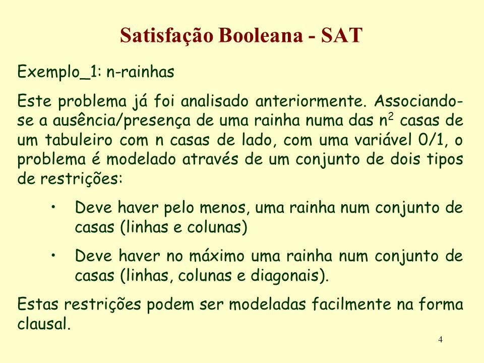 5 Satisfação Booleana - SAT R1: Deve haver pelo menos uma rainha num conjunto Q 1 a Q n de casas 1 só cláusula: Q 1 Q 2 Q n R2: Deve haver no máximo uma rainha num conjunto Q 1 a Q n de casas Várias (no total de n*(n-1)/2) claúsulas do tipo: Q 1 Q 2 Q 1 Q 3..
