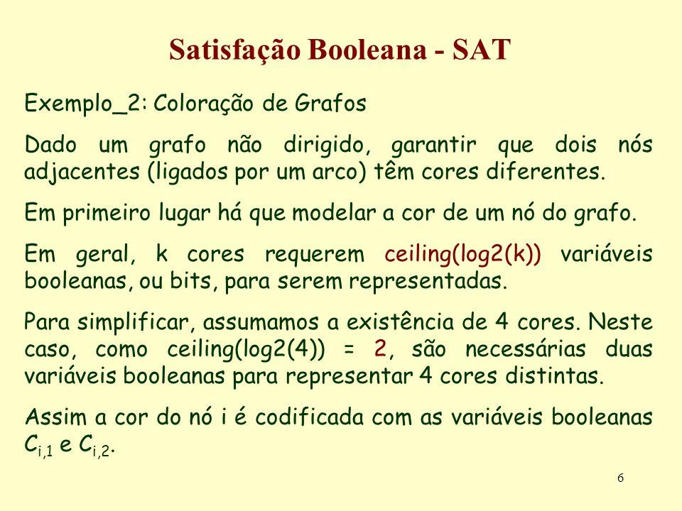 6 Satisfação Booleana - SAT Exemplo_2: Coloração de Grafos Dado um grafo não dirigido, garantir que dois nós adjacentes (ligados por um arco) têm cores diferentes.
