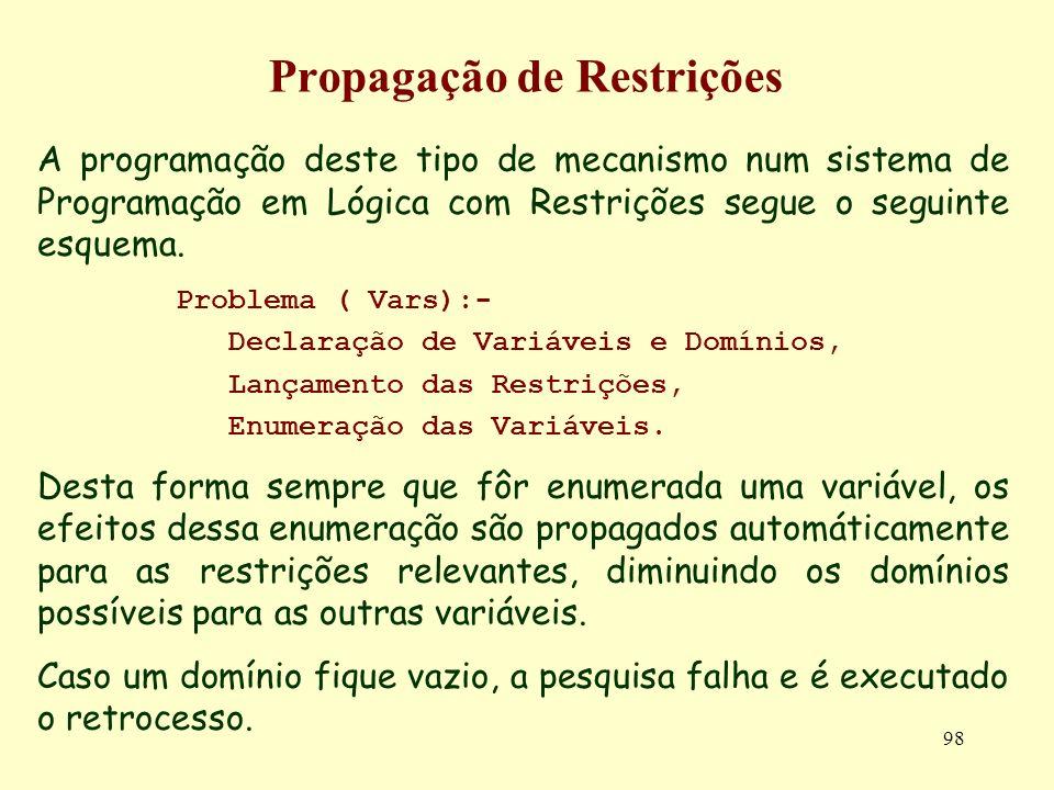 98 Propagação de Restrições A programação deste tipo de mecanismo num sistema de Programação em Lógica com Restrições segue o seguinte esquema. Proble