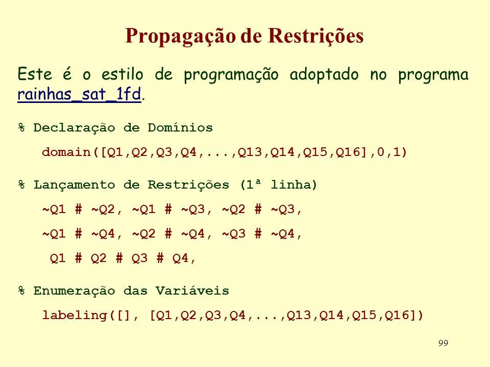 99 Propagação de Restrições Este é o estilo de programação adoptado no programa rainhas_sat_1fd. rainhas_sat_1fd % Declaração de Domínios domain([Q1,Q