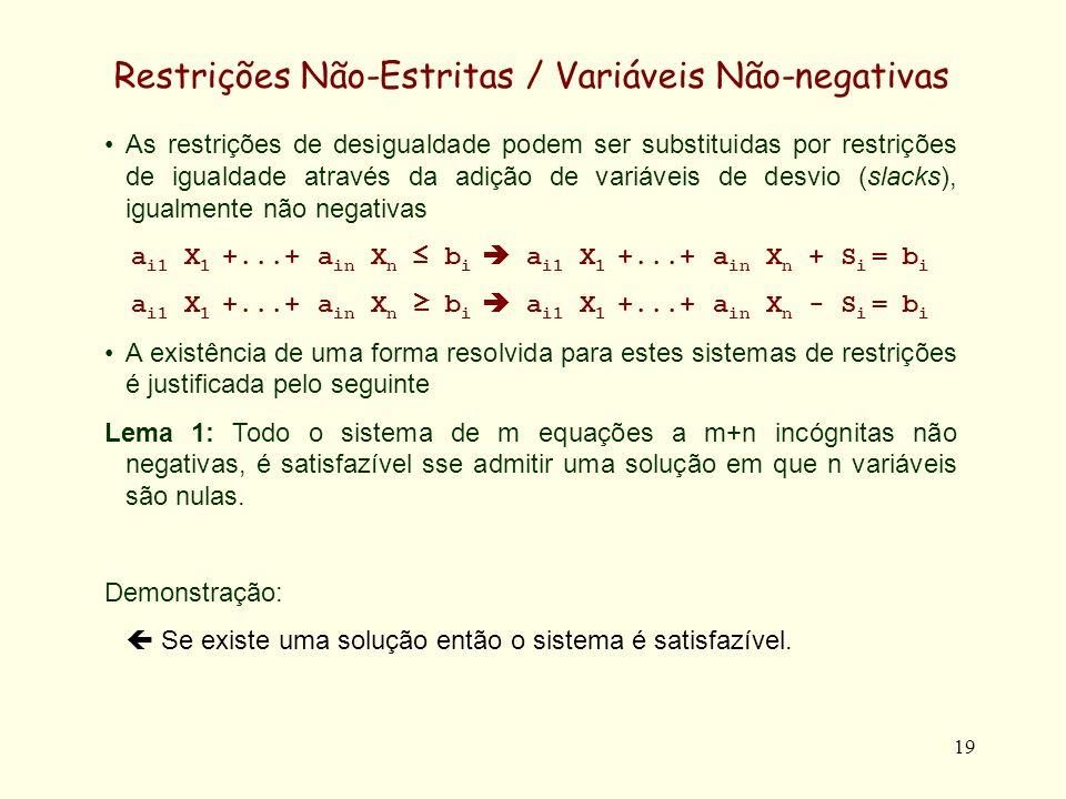 19 Restrições Não-Estritas / Variáveis Não-negativas As restrições de desigualdade podem ser substituidas por restrições de igualdade através da adição de variáveis de desvio (slacks), igualmente não negativas a i1 X 1 +...+ a in X n b i a i1 X 1 +...+ a in X n + S i = b i a i1 X 1 +...+ a in X n b i a i1 X 1 +...+ a in X n - S i = b i A existência de uma forma resolvida para estes sistemas de restrições é justificada pelo seguinte Lema 1: Todo o sistema de m equações a m+n incógnitas não negativas, é satisfazível sse admitir uma solução em que n variáveis são nulas.
