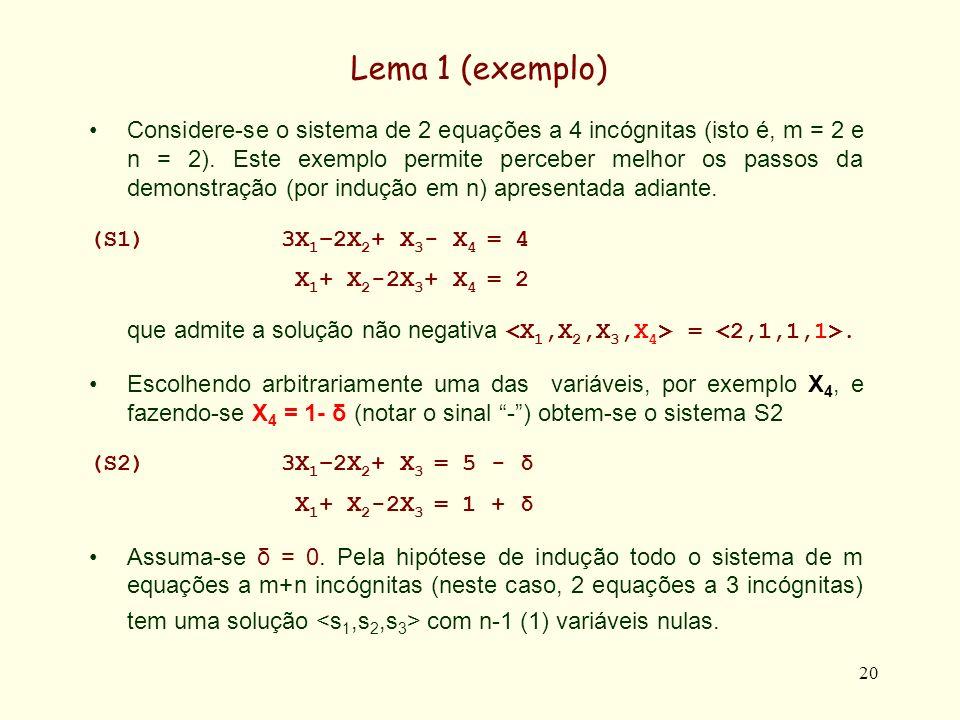 20 Lema 1 (exemplo) Considere-se o sistema de 2 equações a 4 incógnitas (isto é, m = 2 e n = 2). Este exemplo permite perceber melhor os passos da dem