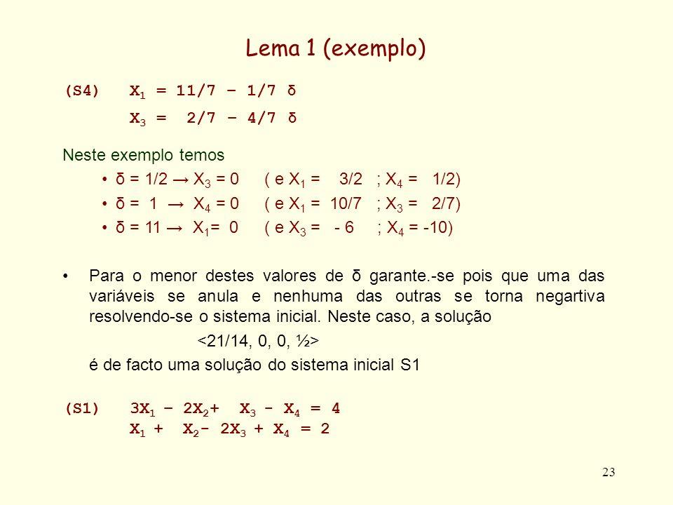 23 Lema 1 (exemplo) (S4)X 1 = 11/7 – 1/7 δ X 3 = 2/7 – 4/7 δ Neste exemplo temos δ = 1/2 X 3 = 0 ( e X 1 = 3/2 ; X 4 = 1/2) δ = 1 X 4 = 0( e X 1 = 10/7 ; X 3 = 2/7) δ = 11 X 1 = 0( e X 3 = - 6 ; X 4 = -10) Para o menor destes valores de δ garante.-se pois que uma das variáveis se anula e nenhuma das outras se torna negartiva resolvendo-se o sistema inicial.