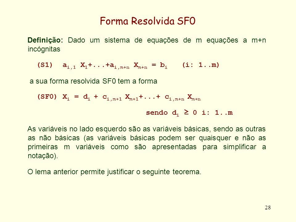 28 Forma Resolvida SF0 Definição: Dado um sistema de equações de m equações a m+n incógnitas (S1) a i,1 X 1 +...+a i,m+n X m+n = b i (i: 1..m) a sua forma resolvida SF0 tem a forma (SF0) X i = d i + c i,m+1 X m+1 +...+ c i,m+n X m+n sendo d i 0 i: 1..m As variáveis no lado esquerdo são as variáveis básicas, sendo as outras as não básicas (as variáveis básicas podem ser quaisquer e não as primeiras m variáveis como são apresentadas para simplificar a notação).