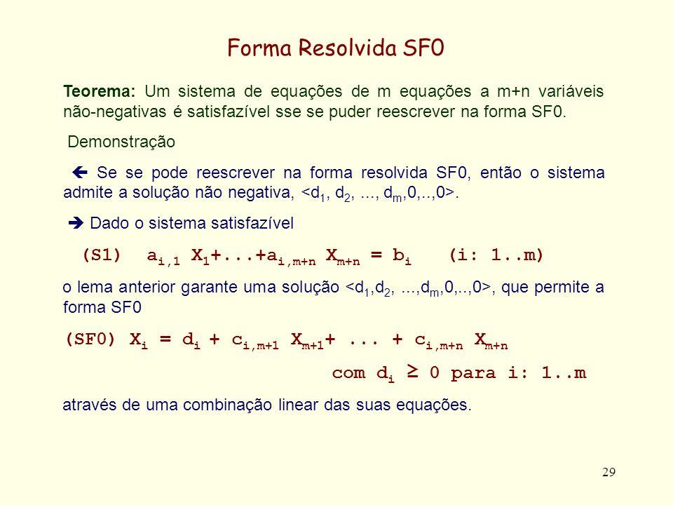 29 Forma Resolvida SF0 Teorema: Um sistema de equações de m equações a m+n variáveis não-negativas é satisfazível sse se puder reescrever na forma SF0
