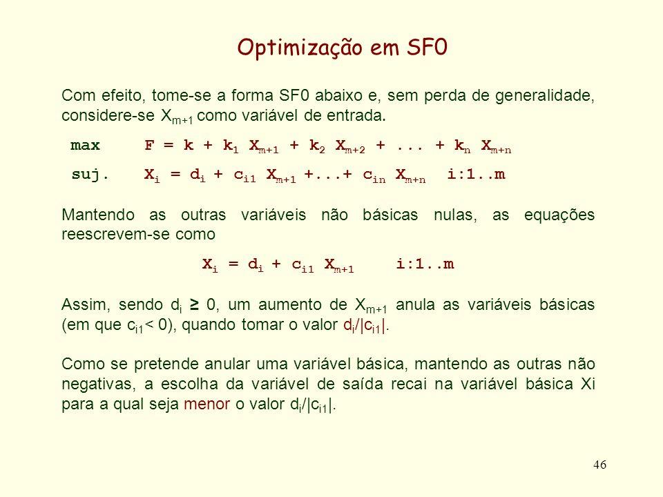 46 Com efeito, tome-se a forma SF0 abaixo e, sem perda de generalidade, considere-se X m+1 como variável de entrada. maxF = k + k 1 X m+1 + k 2 X m+2