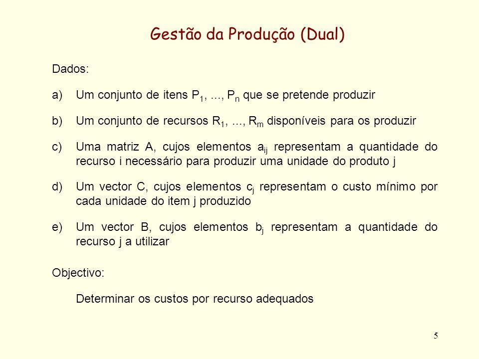 5 Gestão da Produção (Dual) Dados: a)Um conjunto de itens P 1,..., P n que se pretende produzir b)Um conjunto de recursos R 1,..., R m disponíveis para os produzir c)Uma matriz A, cujos elementos a ij representam a quantidade do recurso i necessário para produzir uma unidade do produto j d)Um vector C, cujos elementos c j representam o custo mínimo por cada unidade do item j produzido e)Um vector B, cujos elementos b j representam a quantidade do recurso j a utilizar Objectivo: Determinar os custos por recurso adequados