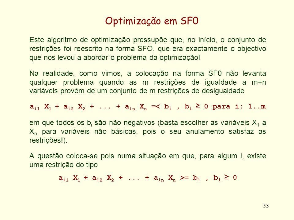 53 Este algoritmo de optimização pressupõe que, no início, o conjunto de restrições foi reescrito na forma SFO, que era exactamente o objectivo que nos levou a abordar o problema da optimização.