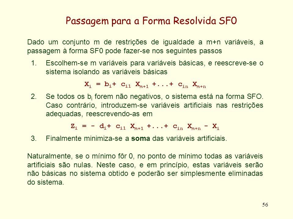 56 Dado um conjunto m de restrições de igualdade a m+n variáveis, a passagem à forma SF0 pode fazer-se nos seguintes passos 1.Escolhem-se m variáveis