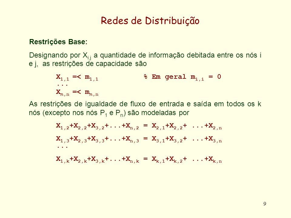 9 Redes de Distribuição Restrições Base: Designando por X i,j a quantidade de informação debitada entre os nós i e j, as restrições de capacidade são X 1,1 =< m 1,1 % Em geral m i,i = 0...