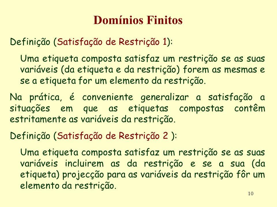 10 Domínios Finitos Definição (Satisfação de Restrição 1): Uma etiqueta composta satisfaz um restrição se as suas variáveis (da etiqueta e da restrição) forem as mesmas e se a etiqueta for um elemento da restrição.