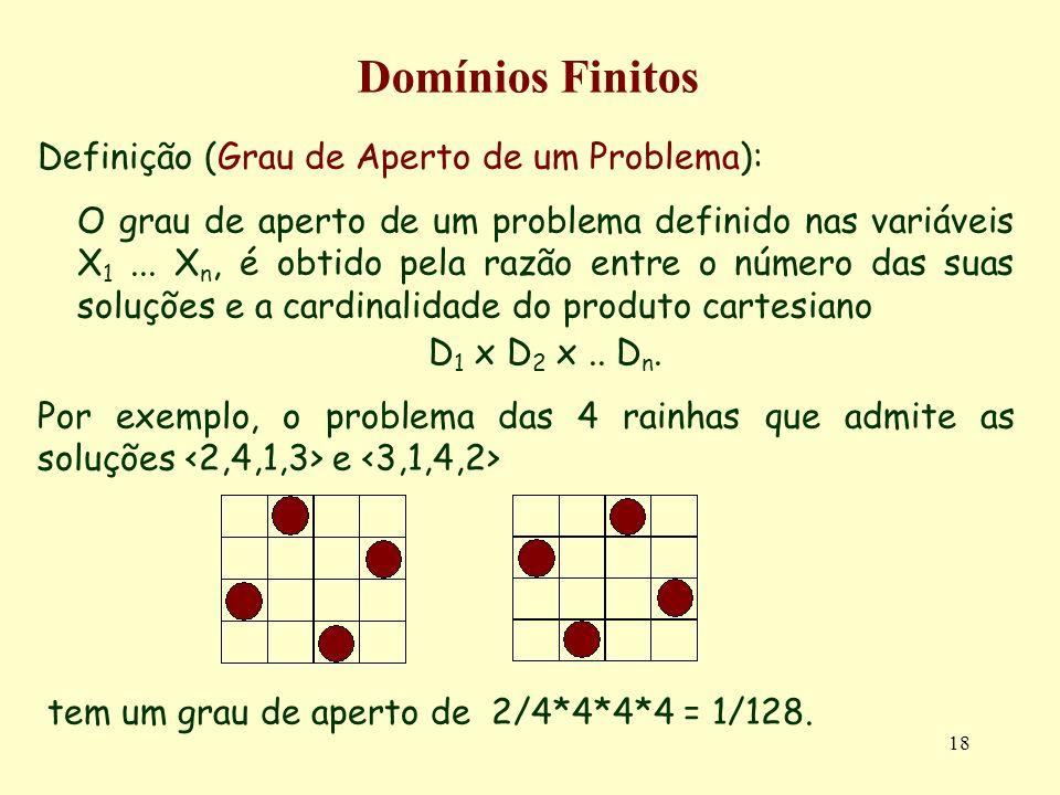 18 Domínios Finitos Definição (Grau de Aperto de um Problema): O grau de aperto de um problema definido nas variáveis X 1...