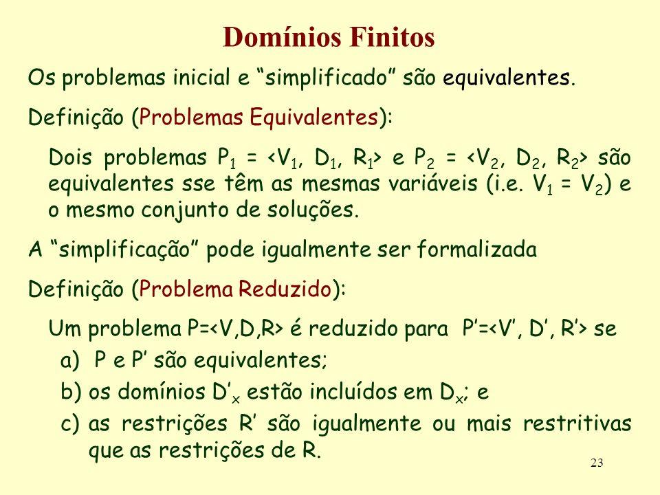 23 Domínios Finitos Os problemas inicial e simplificado são equivalentes.